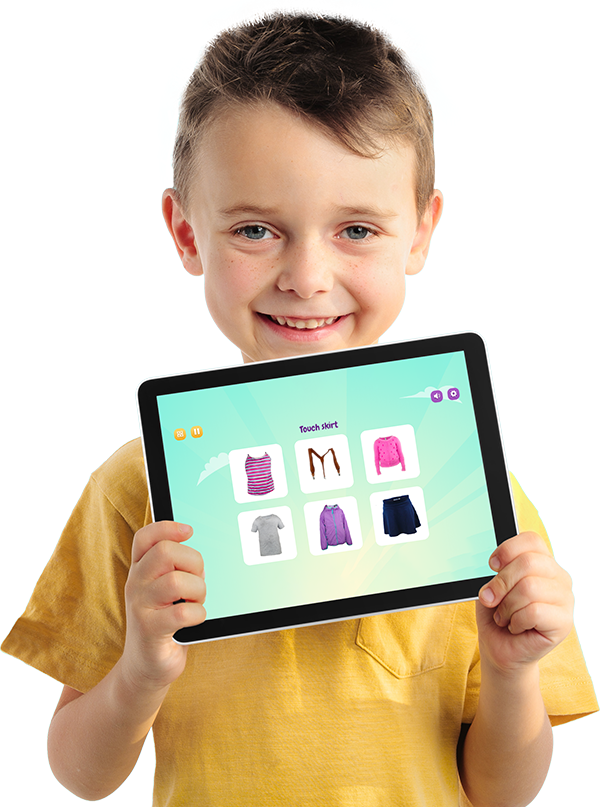 Boy with Purple Bananas on Tablet