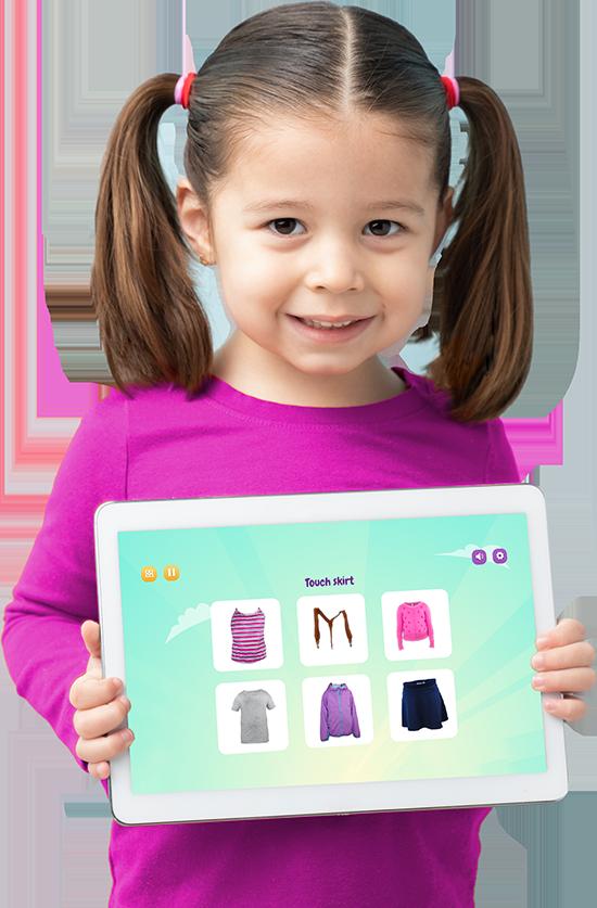 Girl with Purple Bananas on tablet
